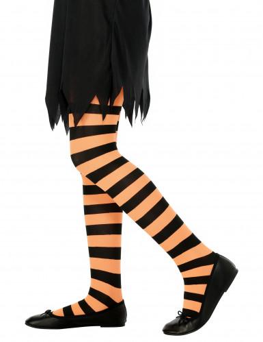 Ringelstrumpfhose für Kinder schwarz-orange