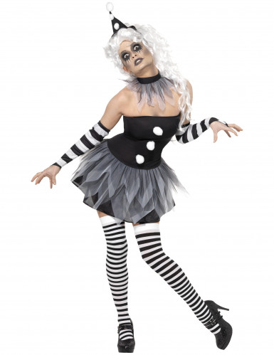 Teuflischer Pierrot Zirkus Halloween Damenkostüm schwarz-weiss