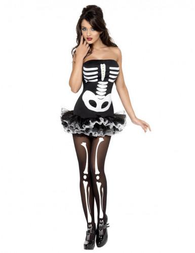 Skelett Knochen Halloween Damenkostüm schwarz-weiss-1