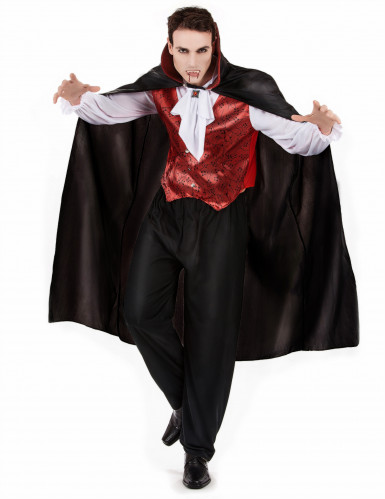 Vampir Blutsauger Halloween Herrenkostüm schwarz-bordeaux