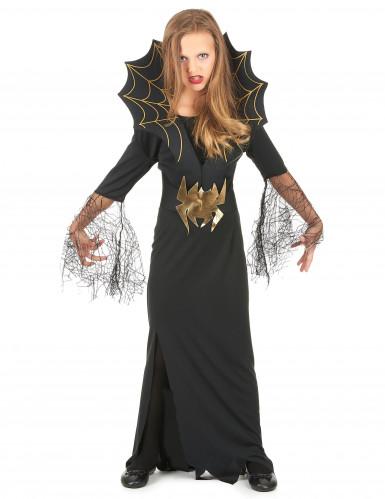 Spinnenkönigin Kinder-Kostüm schwarz-gold