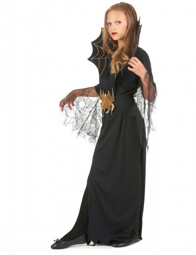 Spinnenkönigin Kinder-Kostüm schwarz-gold-1