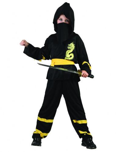Drachen-Ninja-Kostüm für Jungen Halloween-Kostüm schwarz-gelb