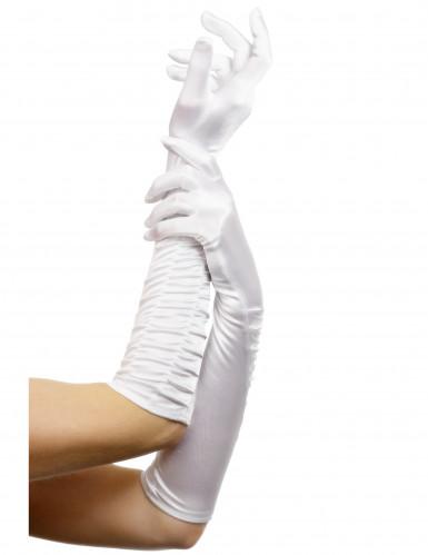 Damen-Handschuhe lang weiss