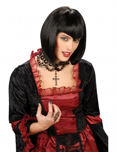 Gothic Vampir Bob-Perücke schwarz