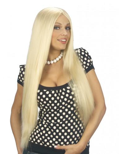Extralange Perücke mit Mittelscheitel glatt blond