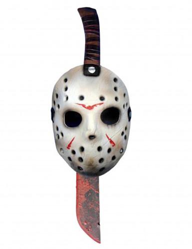 Freitag der 13. Maske und Machete Halloween-Lizenzartikel weiss-silber-braun