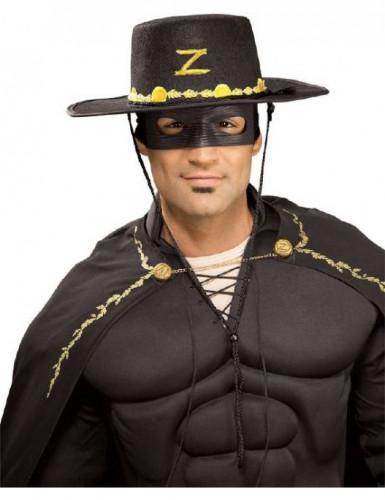 Zorro™-Set Maske und Hut 2-teilig schwarz-gold