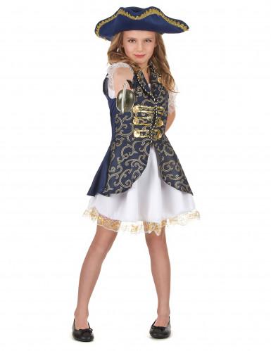 Piraten-Kostüm für Mädchen Halloweenkostüm blau-weiss-gold