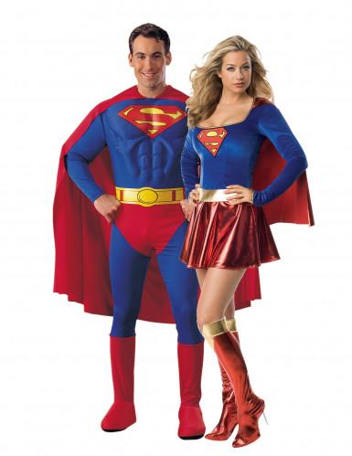 Supergirl™ und Superman™-Paarkostüm für Erwachsene Halloween-Kostüm blau-rot