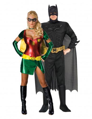 Batman™ und Robin™-Paarkostüm Haloween-Kostüm schwarz-rot-grün