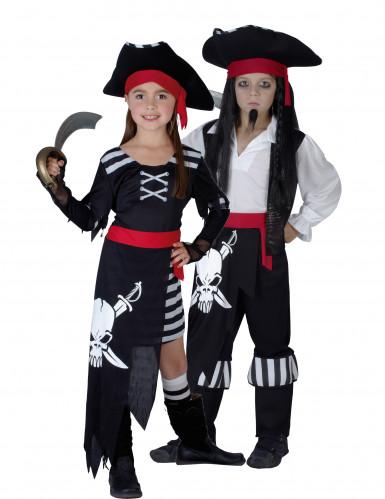 Piratenpaarkostüm für Kinder schwarz-weiß-rot