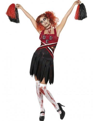 High School Horror Zombie Cheerleader Halloween Damenkostüm schwarz-rot