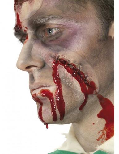 Selbstgenähte Wunde Applikation mit Kunstblut rot-beige 10cm
