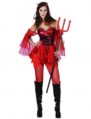 Aufreizende Teufelin Halloween-Damenkostüm rot-schwarz