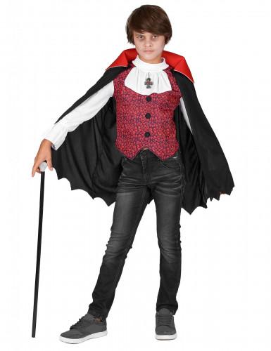 Edler Vampir Halloween-Kinderkostüm rot-schwarz-weiss-1