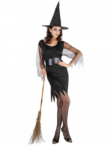 Knappes Hexen-Damenkostüm schwarz