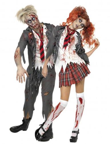 High School-Zombie-Paarkostüm Schüler Halloween-Kostüm grau-weiss-rot