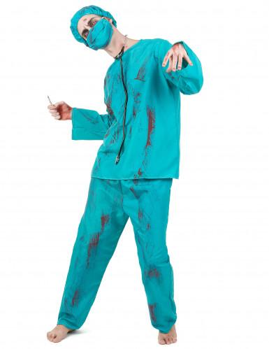 Zombie-Chirurg Horror-Arzt Halloween Kostüm für Herren blau-rot