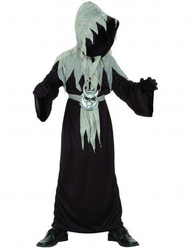 Schauriger Dämonen-Mönch Halloween-Kinderkostüm schwarz-grau