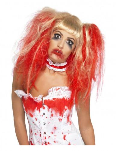 Zombie Horror Krankenschwester Punk Perücke Zöpfe blond-rot