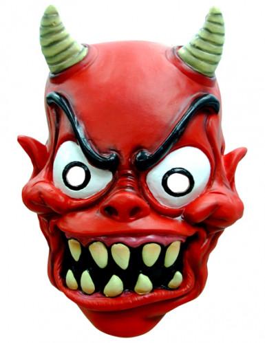 VerrückterTeufel Halloween-Maske mit Hörnern rot-schwarz