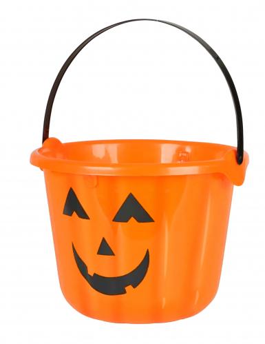 Kürbis-Eimer Halloweendeko orange-schwarz