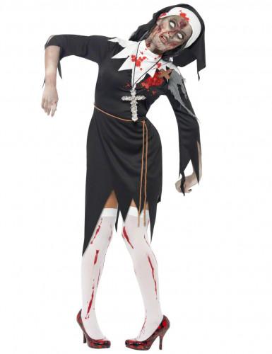 Zombie Nonne Halloween Damenkostüm schwarz-weiss-rot