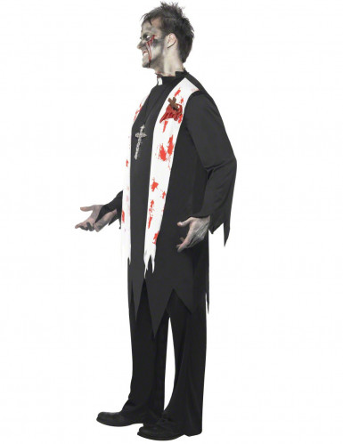 Horror Zombie Priester Pfarrer Halloween Kostüm schwarz-weiss-rot-1