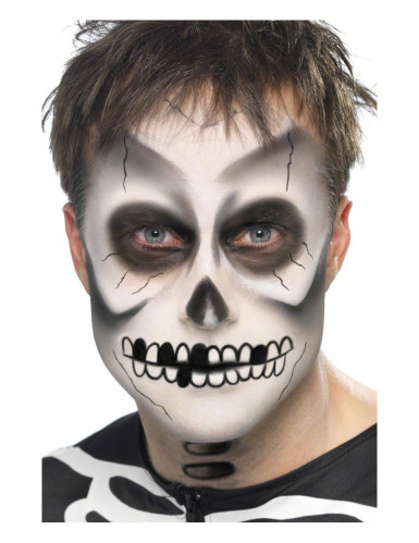 Skelett Make-Up-Set Halloween 4-teilig weiss-schwarz