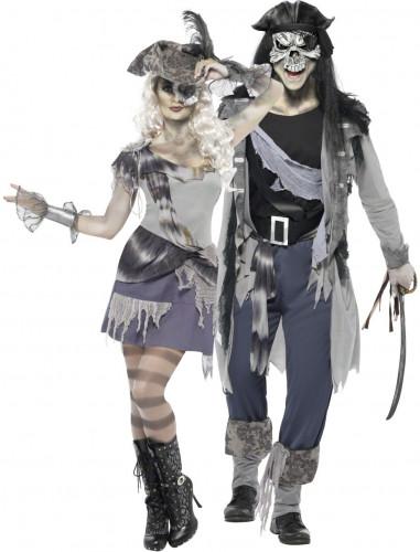 Geister Gothic Piraten Paarkostüm schwarz-grau-blau