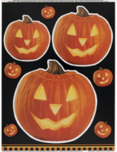 Halloween Kürbis-Fensteraufkleber schwarz-orange