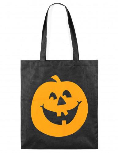 Halloween Kürbis-Bonbonsäckchen orange-schwarz 30x38cm