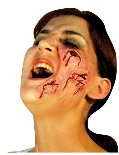 Gesichtswunden-Applikation Halloween-Wundenapplikation rot-beige