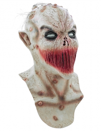 Zugenähter Mund Maske Halloween Kostümaccessoire hautfarben-rot