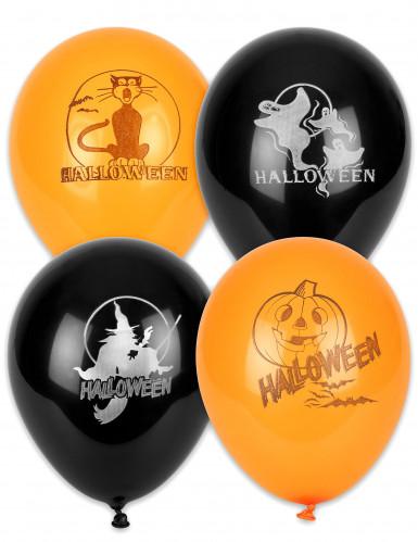 Niedliche Halloween-Ballons Kinderhalloween-Deko 100 Stück orange-schwarz