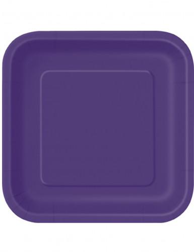 Eckige Partyteller Pappteller 14 Stück violett 23x23cm