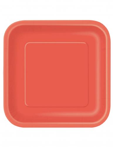 Eckige Partyteller Pappteller 14 Stück rot 23x23cm