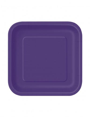 Eckige Partyteller Pappteller 16 Stück violett 18x18cm