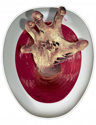 Blutgetränkte Hand Halloween-Toilettenaufkleber bunt 30 x 43 cm