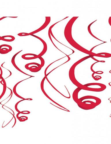 Spiralen-Hängedeko 12-teilig rot 55,8 cm