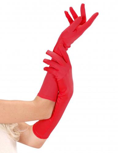 Satin Handschuhe lang rot