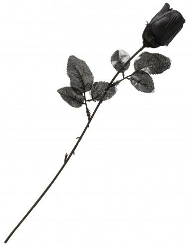Stoff-Rose Gothic Halloween-Accessoire schwarz 48x3cm