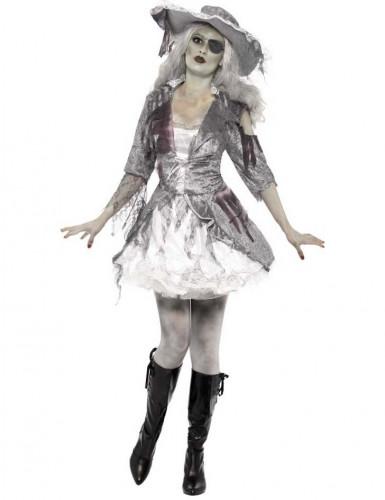 Geister-Piratin Freibeuterin Halloween Damenkostüm grau-weiss