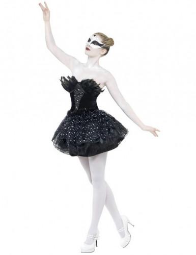 Gothic Schwarzer Schwan Halloween Damenkostüm schwarz