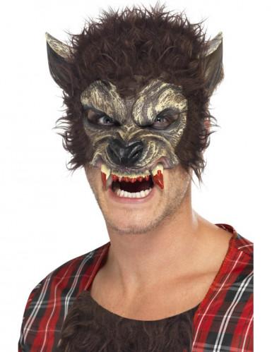Werwolf-Halbmaske mit Kunstfell schwarz