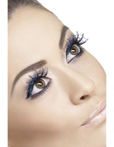 Wimpern Spinnweben Halloween blau