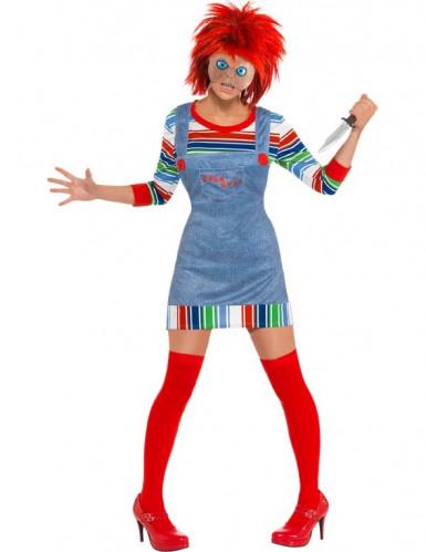 Mörderpuppe Halloween Damenkostüm blau-bunt