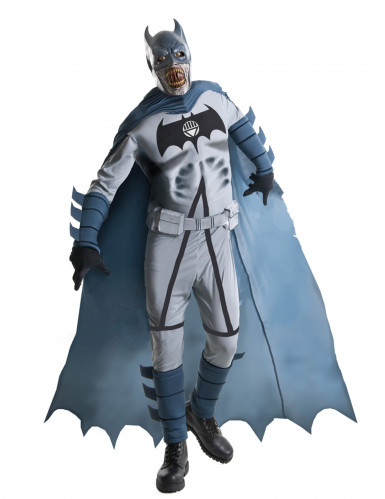 Zombie Batman Halloween Deluxe-Kostüm grau-schwarz