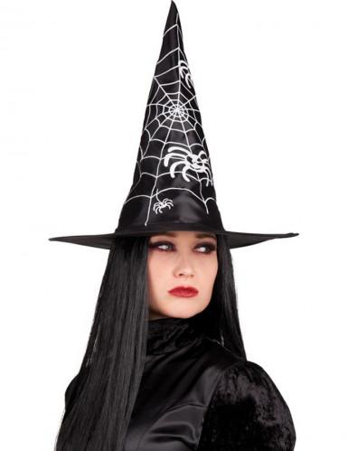 Schwarzer Halloween Hexenhut für Erwachsene schwarz